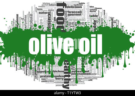 Olive oil word cloud concept on white background, 3d rendering. - Stock Photo