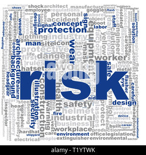 Risk word cloud. Creative illustration of idea word lettering typography . 3D renderin - Stock Photo
