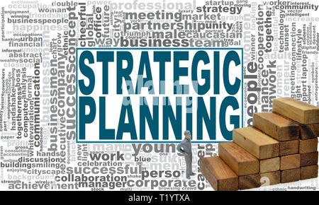 Strategic planning word cloud. Creative illustration of idea word lettering typography . 3D rendering. - Stock Photo