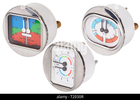 Set of manometers. Measuring tool. Isolated on white. Round gauge with metal frame - Stock Photo