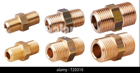 Set of hexagon  nipple for pipes isolated on white background. Threaded connector, pipe fitting - Stock Photo