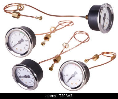 A Pressure Gauge. Isolated - Stock Photo