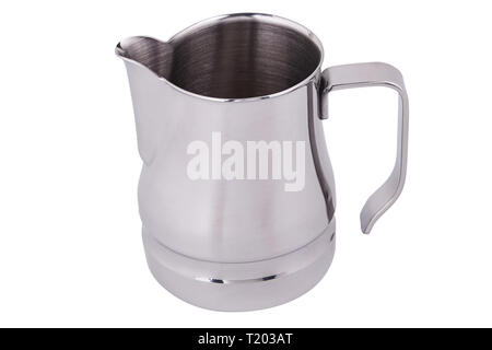 Stainless Steel Milk Pitcher/Jug. Foaming Jug. Latte art for barista. Coffee Accessories. Barista Kit. Isolated on white background. - Stock Photo