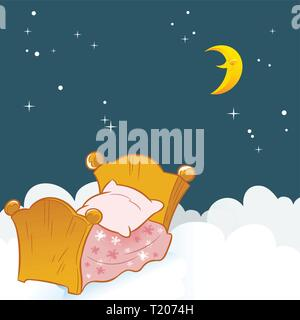The illustration shows a small baby bed on a background of clouds and the night sky. - Stock Photo