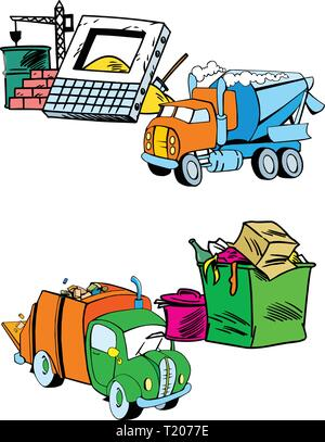 The illustration shows several modes of transport, namely garbage truck and construction equipment. Illustration done on separate layers - Stock Photo