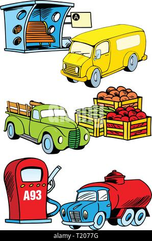 The illustration shows several modes of transport, namely, bus, truck and construction machinery. Illustration done on separate layers - Stock Photo