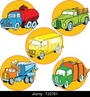 A picture of some utility vehicles. Illustration done in cartoon style on separate layers - Stock Photo