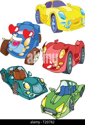 Cartoon transport. Colored cars toys. Illustration done on separate layers. - Stock Photo