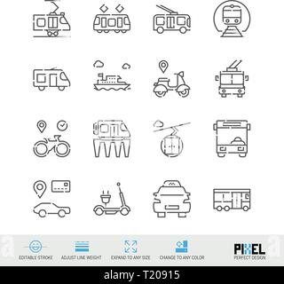 Vector Line Icon Set. Public Transport Linear Icons. City Vehicles Symbols, Pictograms, Signs. Pixel Perfect Design. Editable Stroke. Adjust Line Weig - Stock Photo