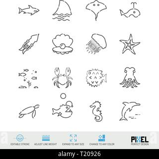 Vector Line Icon Set. Marine Life Related Linear Icons. Sea Animals Symbols, Pictograms, Signs. Pixel Perfect Design. Editable Stroke. Adjust Line Wei - Stock Photo