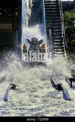 Log Flume ride at Frontierland Western Theme Park, Morecambe, Lancashire, England, UK. Circa 1980's - Stock Photo