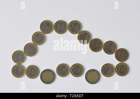 Car made of euro coins on white background - Concept of car insurance, car purchase - Stock Photo