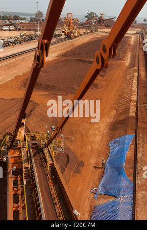Port operations for managing and transporting iron ore.  From bucket  reclaimmer stacker reclaiming lump ore to stockpiles with other stackers behind. - Stock Photo