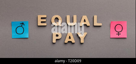 Equal Pay for man and woman, wooden words with gender symbols on gray background, panorama