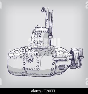 A little funny gray submarine - Stock Photo