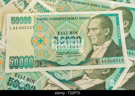 close up old turkish lira banknotes - Stock Photo