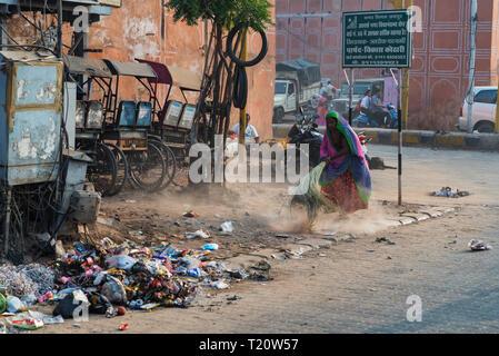 JAIPUR, INDIA - NOVEMBER 6, 2017: Trash in street of Jaipur, India - Stock Photo