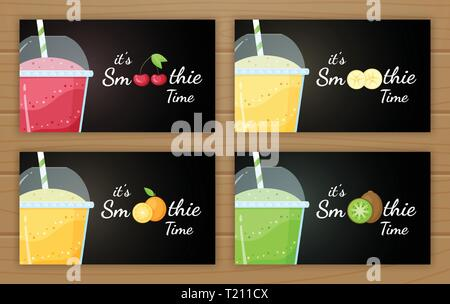 Natural smoothie fruit shake vector logo illustration. Set of tasty fruit, glass with colorful layers of smoothies cocktail and smoothie logo for fitness landing page concept. Clipping mask applied. - Stock Photo