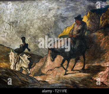 Don Quixote and Sancho Panza by Honoré Daumier 1808-1879 France French - Stock Photo