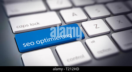 SEO Optimierung - SEO Optimization - concept of a business website with German text on a single blue computer key on a white a white keyboard - Stock Photo