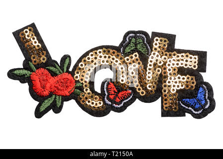 Love sequin patch - Stock Photo