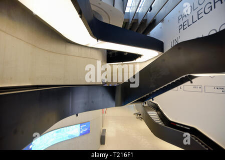 Interior Staircases in the MAXXI Art Gallery or Art Museum, National Museum of 21st-Century Arts, Rome designed by Zaha Hadid in 2010 - Stock Photo
