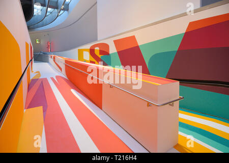 Colourful Painted Ramp in the MAXXI Art Gallery or Art Museum, National Museum of 21st-Century Arts, Rome designed by Zaha Hadid in 2010 - Stock Photo