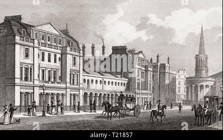 Langham Place, London, UK, illustration by Th. H. Shepherd, 1826 - Stock Photo