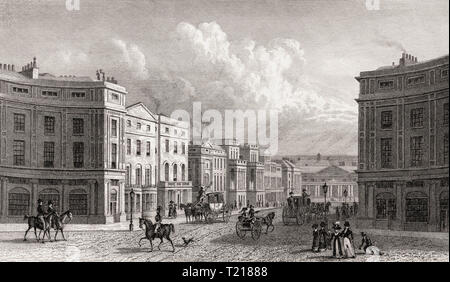 Regent Street, seen from Piccadilly Circus, London, UK, illustration by Th. H. Shepherd, 1826 - Stock Photo