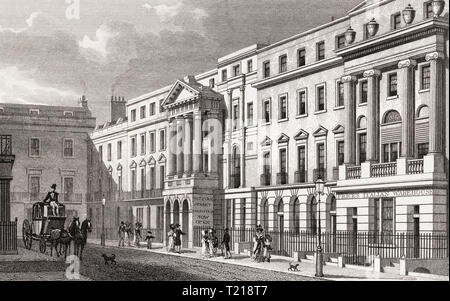 Pall Mall East and Suffolk Street, London, UK, illustration by Th. H. Shepherd, 1826 - Stock Photo