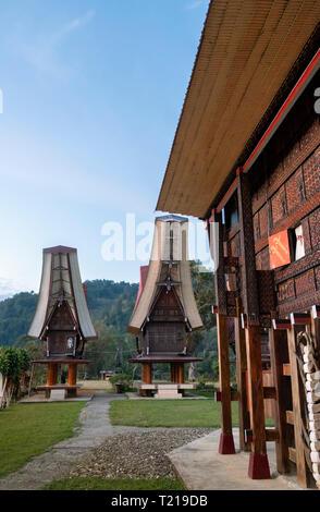 Traditional tongokan steep-roofed houses in Toraja, Sulawesi, Indonesia - Stock Photo
