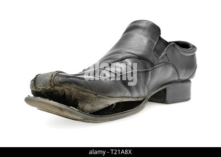 old shoe isolated on a white background - Stock Photo