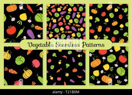 Outline seamless vegetable background set vector flat illustration. Seamless texture black background design with tomato, eggplant, cabbage and carrot, turnip vegetable silhouette in natural colors - Stock Photo