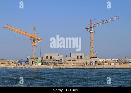 Venice, Italy - July 08, 2011: Construction Site Building Seawall MOSE Project for Flood Protection Lagoon in Venice, Italy. - Stock Photo