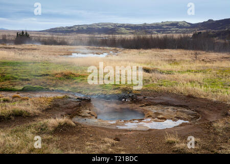 Iceand, Haukadalur valley, Geothermal site with hot spring, geyser - Stock Photo