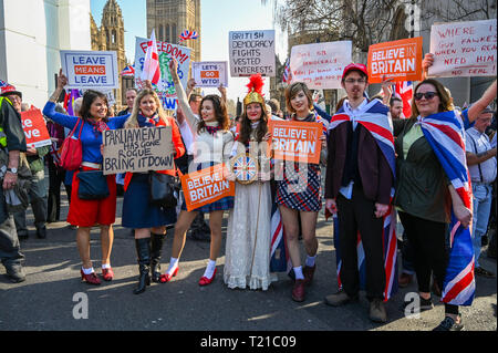 London, UK. 29th Mar, 2019. Thousands of Pro Brexit supporters join the Brexiteers Rally in Parliament Square London today as they show their anger at not leaving the EU today causing traffic chaos in the city . MP's are sitting today to debate leaving the European Parliament on the day it was originally supposed to happen Credit: Simon Dack/Alamy Live News - Stock Photo