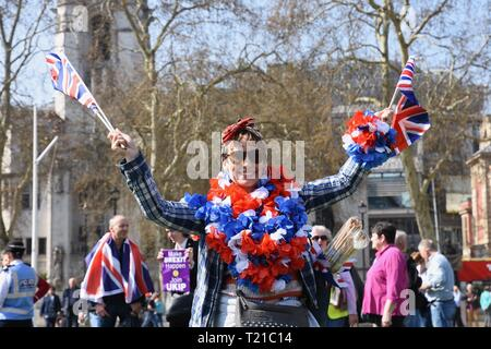 29th Mar 2019. March to Leave, Protesters gathered in Parliament Square on the day that the UK was originally due to leave the European Union, Houses of Parliament, Westminster, London. UK Credit: michael melia/Alamy Live News - Stock Photo