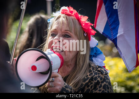 London, UK. 29th March 2019. Hundreds of Pro-Brexit supporters gather with flags near Parliament in Westminster to demand Britain leaves the EU without further delays. Roads were blocked with dozens of police deployed to keep order. Credit: Guy Corbishley/Alamy Live News - Stock Photo