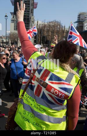 London, UK. 29th Mar, 2019. On the day that the UK was originally scheduled to leave the EU Prime Minister Theresa May also suffered her third vote defeat (for the EU withdrawal agreement), bringing a No Deal Brexit ever closer and Leave Brexiteers protest outside parliament in Westminster, in London, England. Photo by Richard Baker/Alamy Live News. - Stock Photo