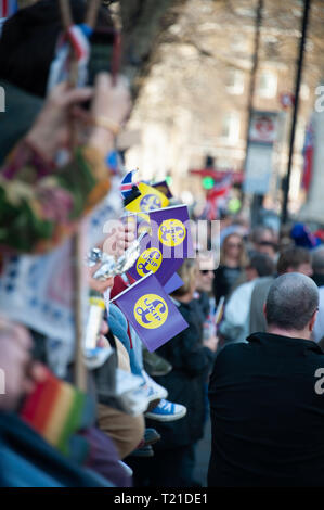 London, United Kingdom. 29th Mar, 2019. People holding flags from United Kingdom Independence Party UKIP during a Pro-Leave rally near Parliament Square. Credit: Sandip Savasadia/Alamy Live News - Stock Photo
