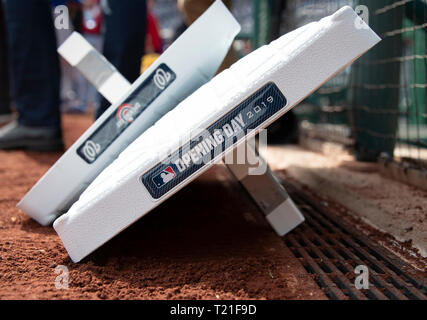 Washington, United States Of America. 28th Mar, 2019. The bases await placement on the field prior to the New York Mets against the Washington Nationals game at Nationals Park in Washington, DC on Thursday, March 28, 2018. Credit: Ron Sachs/CNP (RESTRICTION: NO New York or New Jersey Newspapers or newspapers within a 75 mile radius of New York City) | usage worldwide Credit: dpa/Alamy Live News - Stock Photo