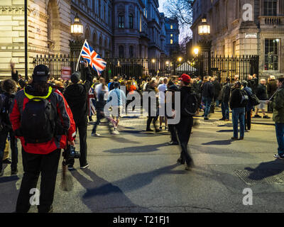 London, UK. 29th Mar 2019. Brexit leave supporters protest and chant slogans outside Downing St following the latest Government defeat on the Brexit Withdrawal  Bill and a likely delay to Brexit. Credit: Robert Evans/Alamy Live News - Stock Photo