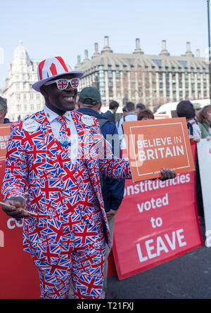 Pro Brexit March 29/3/2019 Protester Dressed in Union Jack Suit Outside the Houses of Parliament, Westminster, Central London, UK - Stock Photo