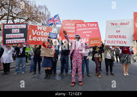 London, UK. 29th Mar, 2019. Hundreds of protestors march to Parliament to demonstrate on the day the UK should have left the EU. Credit: Kevin J. Frost/Alamy Live News - Stock Photo