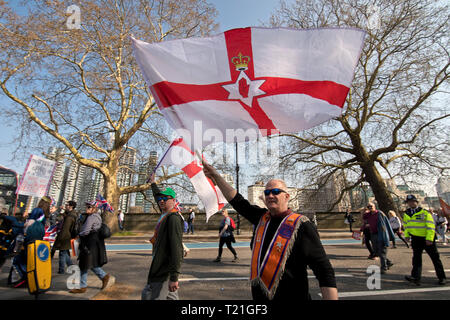 London, UK. 29th Mar, 2019. Thousands of Leave supporters have protested at Westminster against the delay to Brexit, on the day the UK had been due to leave the EU. London-29/03/2019 Credit: Vehbi Koca/Alamy Live News - Stock Photo