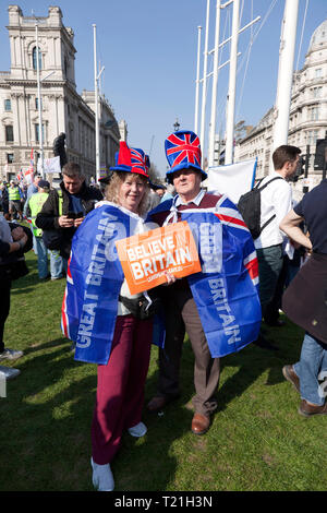 Protestors  demonstrating  against the delay to Brexit  on the day the UK should have left  the EU - Stock Photo
