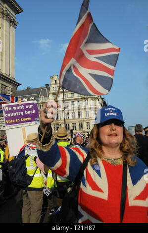 London, UK. 29th Mar, 2019. Brexiteers march to London's Parliament Square, on the day that Britain was meant to leave the EU. Credit: Dario Earl/Alamy Live News - Stock Photo