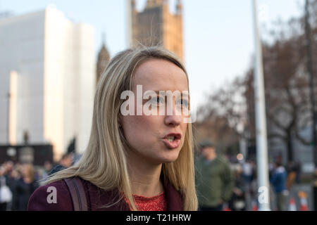 London, UK. 29th Mar, 2019. Sophie Ridge from SkyNews interviewing (off camera view) a young Pro-Brexit demonstrators at Parliament Square, Westminster. MPs debate Theresa May's Withdrawal Agreement. The UK has to inform the EU by 11.00pm of the result of the vote in the Commons. Credit: Santo Basone/Alamy Live News - Stock Photo