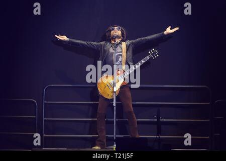 Santiago, Chile. 30th Mar, 2019. US singer Lenny Kravitz performs on stage during the 9th edition of the Lollapalooza music festival, in Santiago, Chile, 29 March 2019. Credit: Elvis González/EFE/Alamy Live News - Stock Photo
