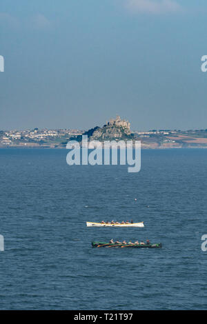 Newlyn, Cornwall, UK. 30th Mar, 2019. UK Weather. Fine weather for gig racers out competing on the sea at Mounts Bay this afternoon. Credit: Simon Maycock/Alamy Live News - Stock Photo